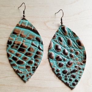 Leather Oval Earrings in Brown and Turquoise